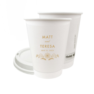 42624c5815c Personalized Gold Ink 8 oz Paper Coffee Cup with Lid with Gold Ink Cup Ink  Colors