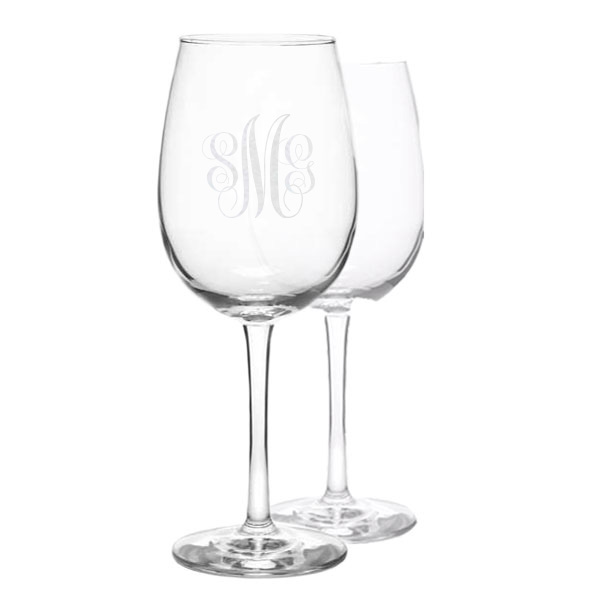 Cursive Monogram Wine Glass Set