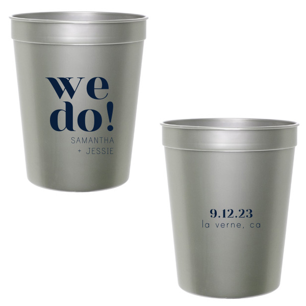 Silver Stadium cups 2 sided with we do design printed in navy blue ink