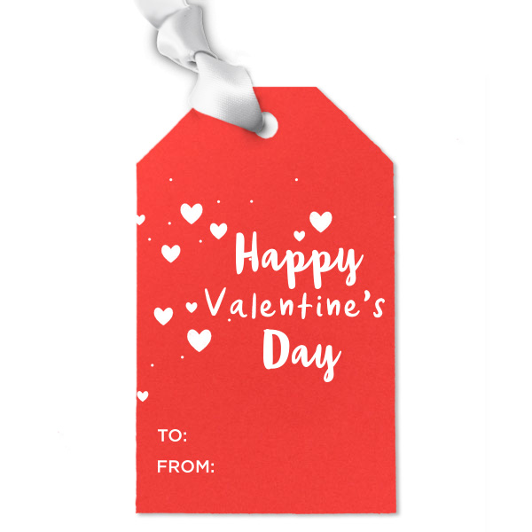 Happy valentines day red luggage tag with white ribbon