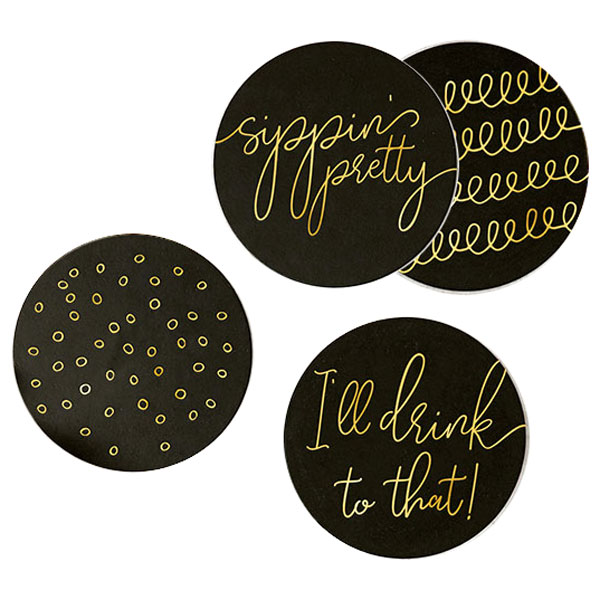 Sippin pretty party ready black coasters set of 4 designs