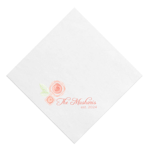 Watercolor Floral Name Photo/Full Color Napkin