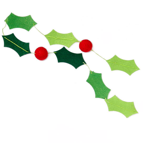 Holiday Holly and Berries Felt Banner