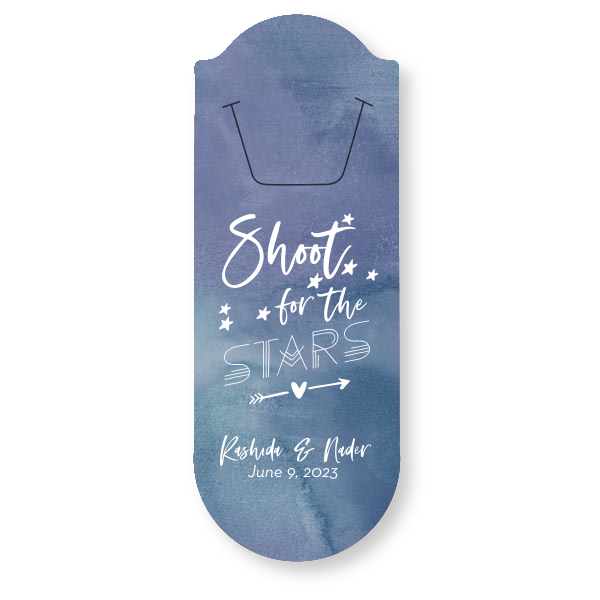 """Custom Rounded Bookmark / 25 Count / 1.93 x 5.13"""" / Shoot For The Stars Favor"""