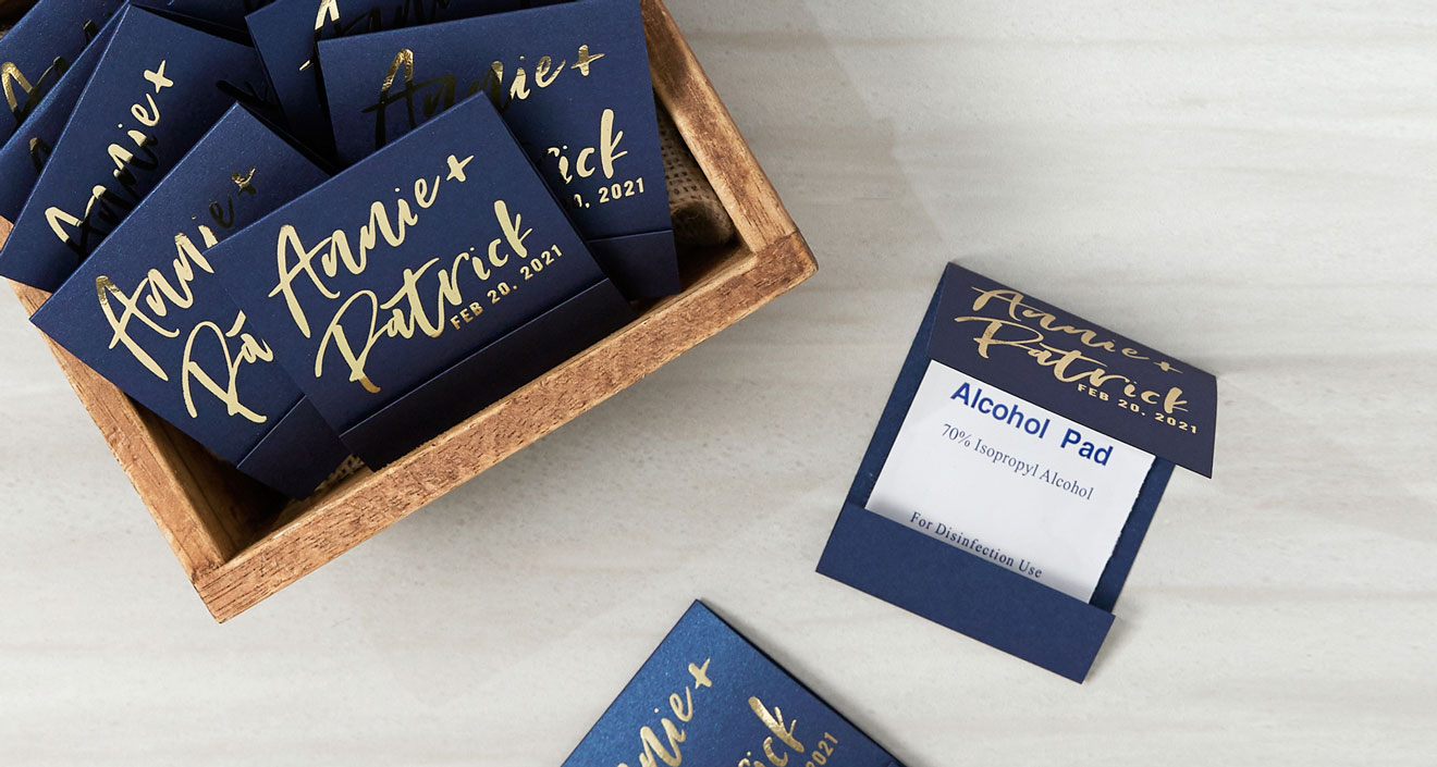 Navy Blue Hand Sanitizer Wipe Favors with Shiny gold foil