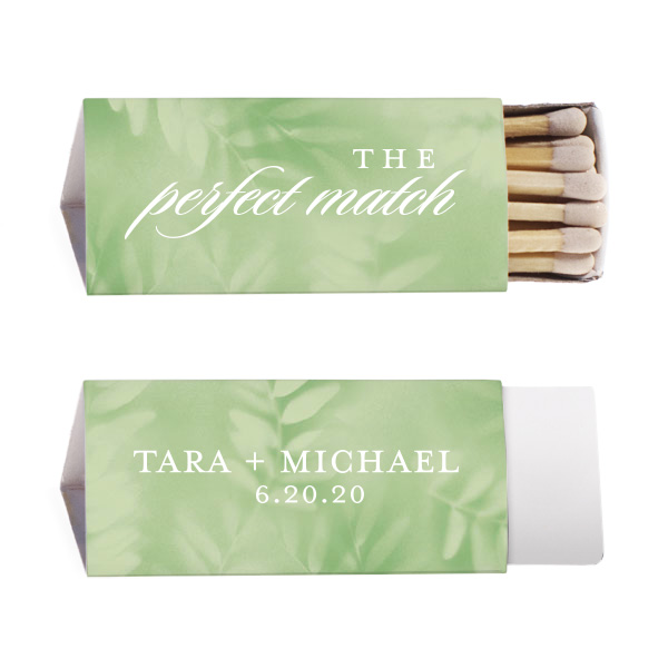 Leaf Patterned triangle matchbook with a perfect match design stamped in white foil