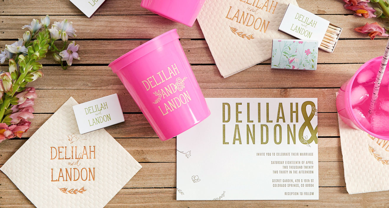 Wildflower wedding pink stadium cups, custom invitations and cocktail napkins