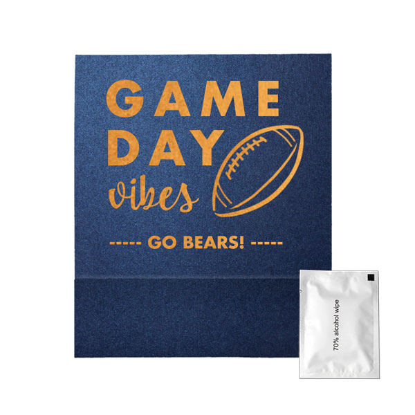 Hand Sanitizer wipe favor in natural royal blue paper and Game day vibes design in shiny gold foil