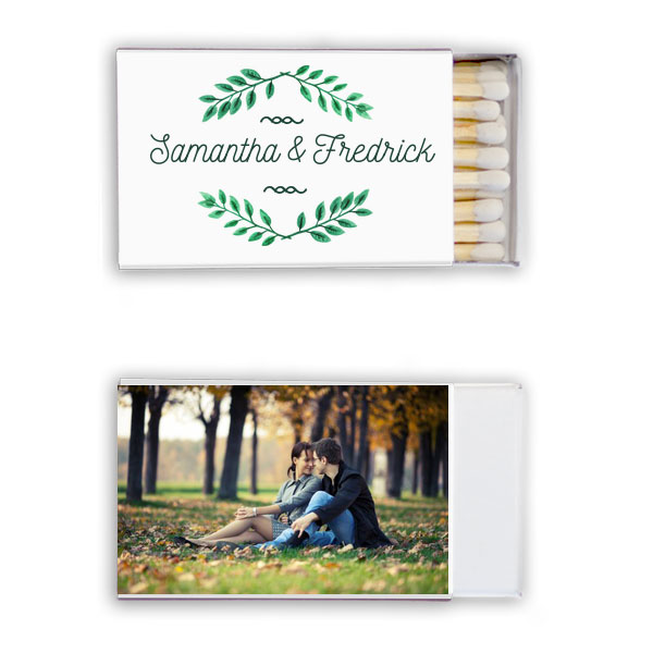 Photo full color classic matchbox with leaf frame