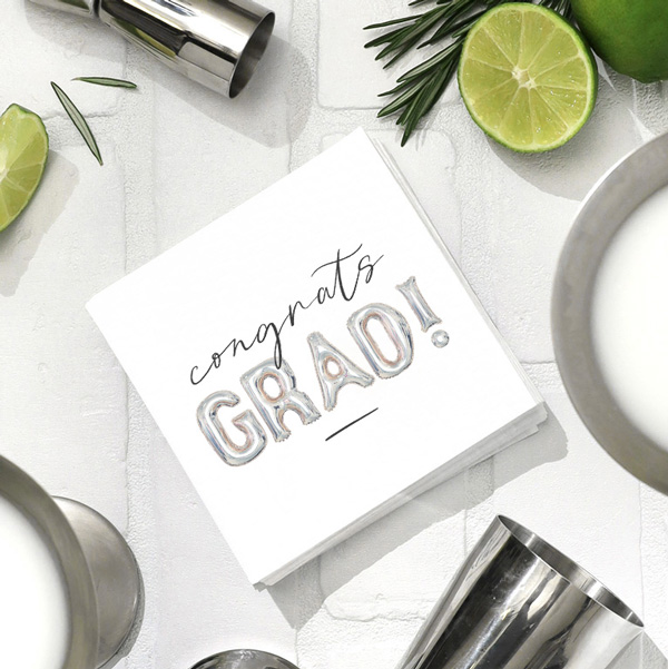 Full Color Cocktail napkin packs with graduation designs