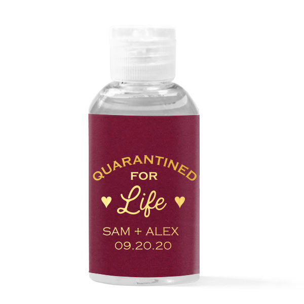 Cranberry paper with gold foil quarantined for life hand sanitizer favor