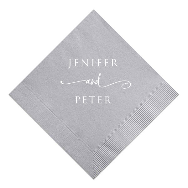 stacked and swirled names design stamped in white foil on dove gray cocktail napkin