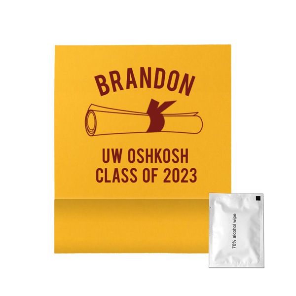 hand sanitizer wipe with graduation design