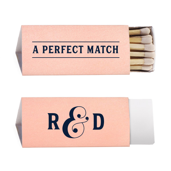 shiny rose gold triangle matchbox with perfect match and initials design in matte black foil
