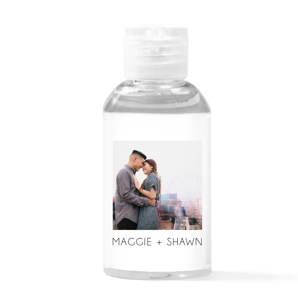 2 oz photo/full color hand sanitizer bottle favor with couples photo and names digitally printed