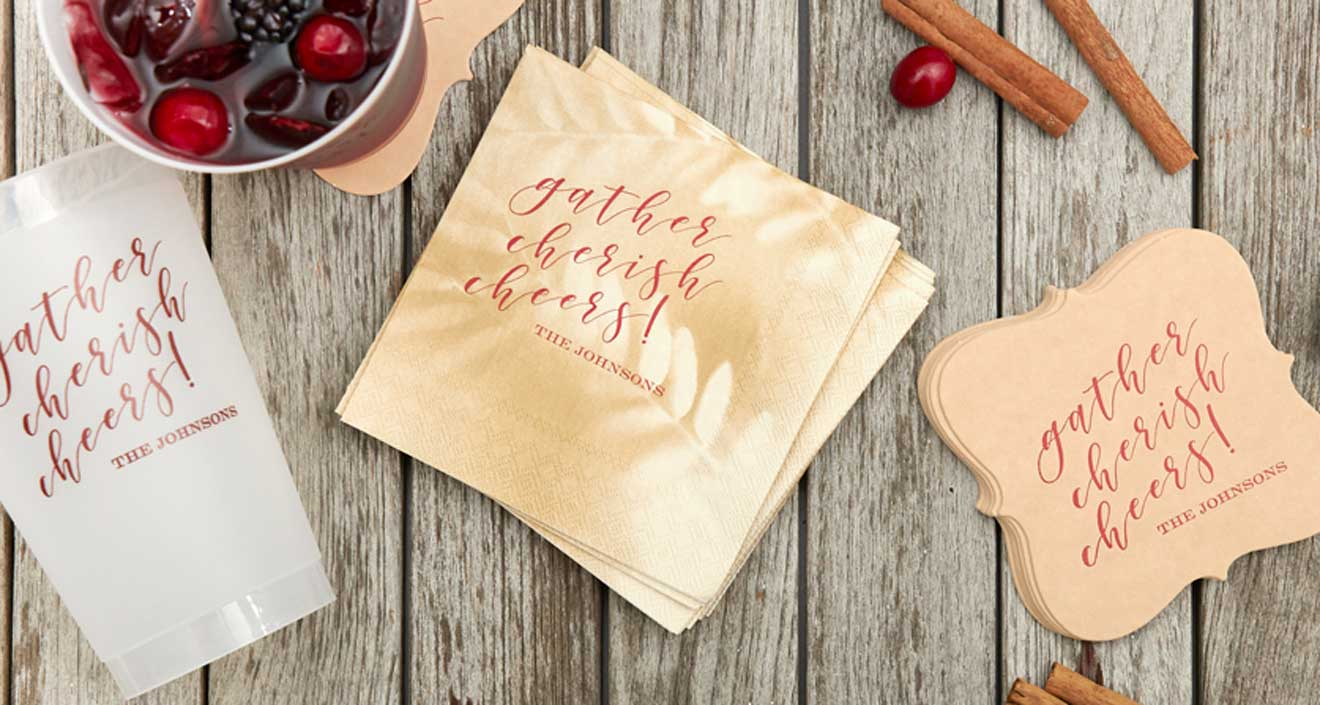 Leaf Cocktail Napkins, specialty shaped coasters and frost flex cups with gather design in fall background