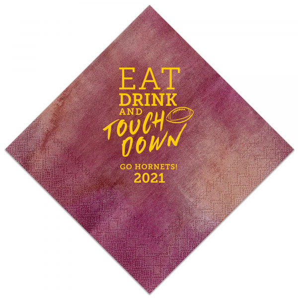 Watercolor sangria cocktail napkin with eat drink and touchdown design stamped in matte sunflower foil
