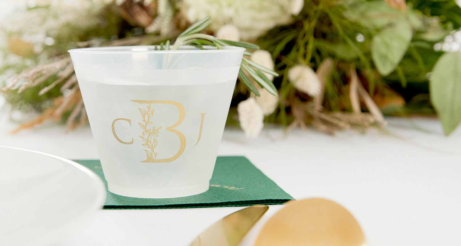 Customized Frost Flex Cup with Floral Monogram design in gold ink
