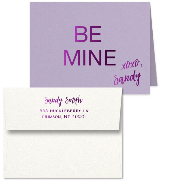 Lavender Note Card with Be Mine xoxo name design in shiny amethyst foil