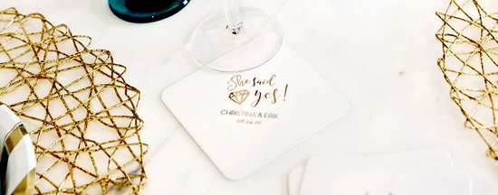 For weddings baby Deco anniversary Real Foil Stamping bridal 100 Foil-Pressed Custom Coasters bachelorette shower party