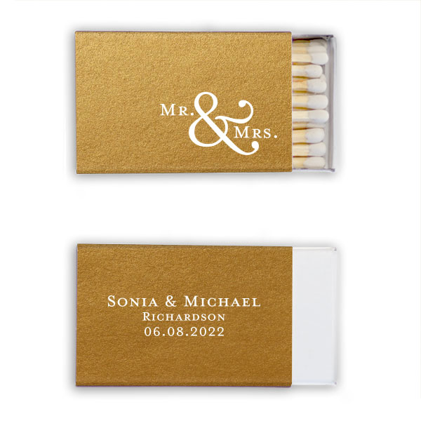 Stardream gold classic matchbox with mr and mrs design stamped in white foil