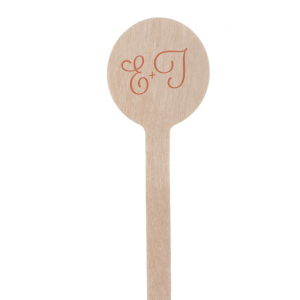 Calligraphic Initials Wedding Stir Stick
