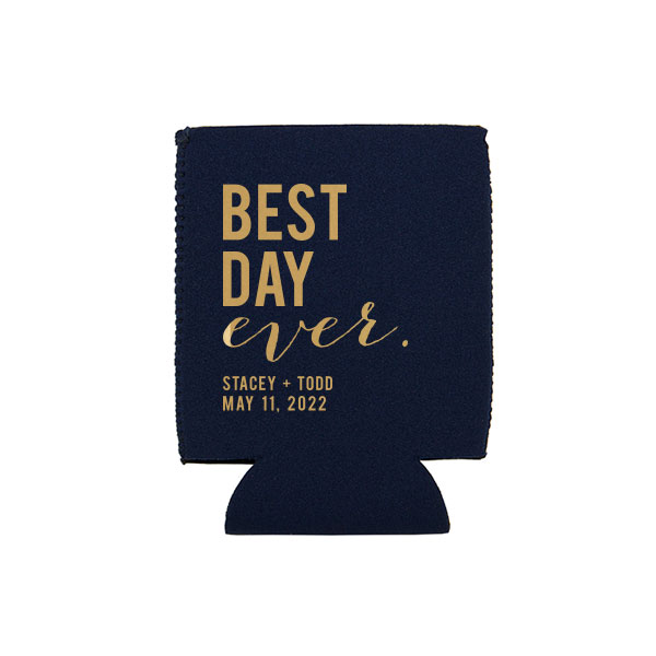 Navy Blue Flat Can Cooler with gold ink printing