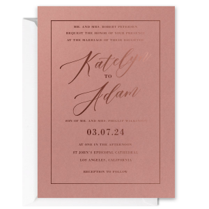 Romantic Modern Script Names Invitation