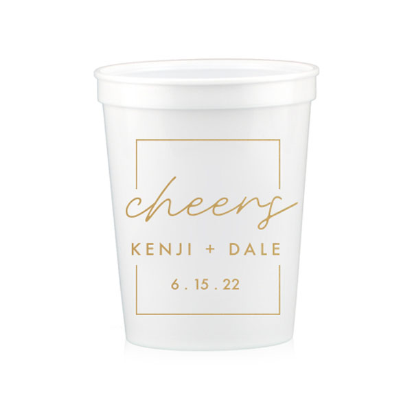 White Stadium cup with cheers frame and names design in gold ink