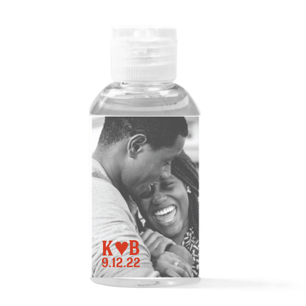 Initial Heart Photo Hand Sanitizer Favor