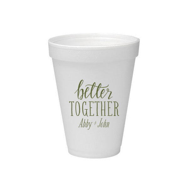 16 oz Styrofoam Cup with Green ink printing