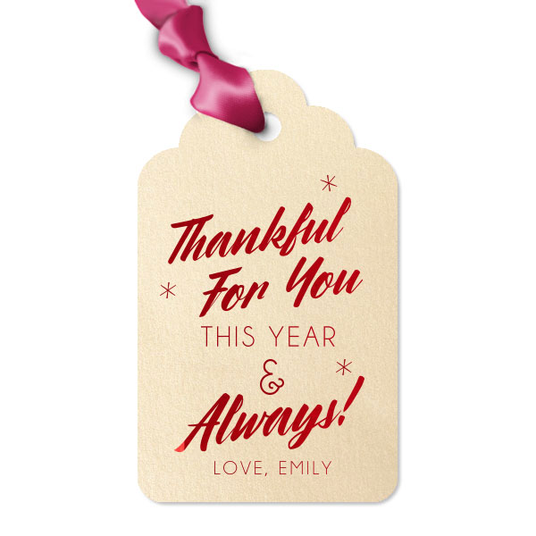 Ivory Round Arch Gift Tag with Satin lipstick red foil