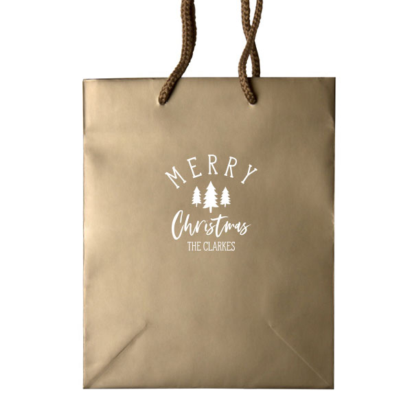 Gold Classic gift bag with Merry Christmas design in White foil