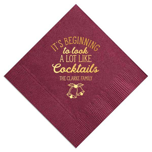 Cocktail napkin with satin gold foil design