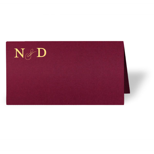 Couples Initial in Cranberry Classic Place Card with gold foil