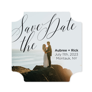 Script Save The Date Photo/Full Color Coaster