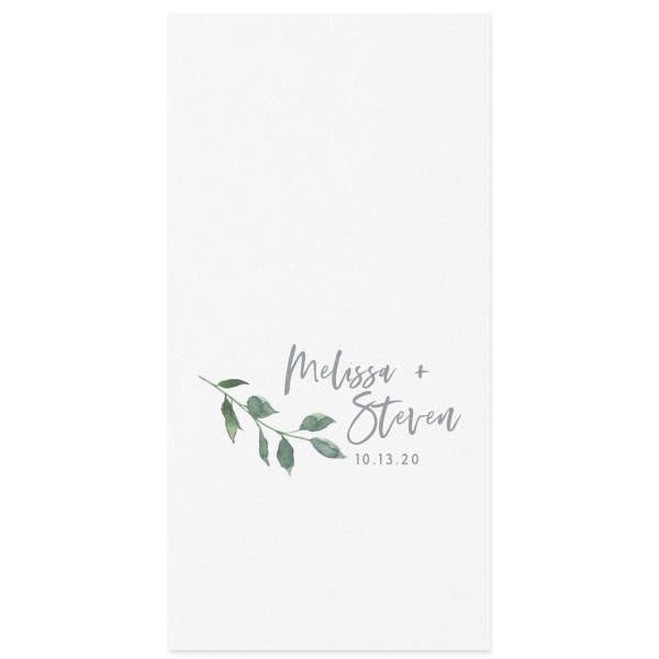 Watercolor Branch full color design on guest hand towel