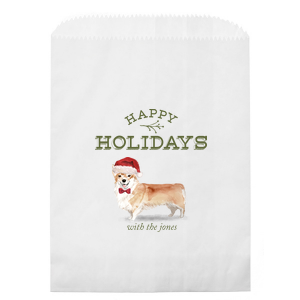 Happy Holidays Santa Dog Photo/Full Color Bag