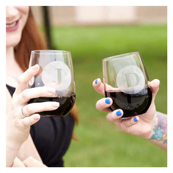 Stemless Wine Glass with monogram design