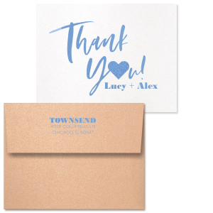 Thank You Script Heart Note Card