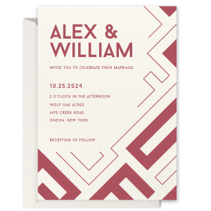 Line Work Maze Wedding Invitation