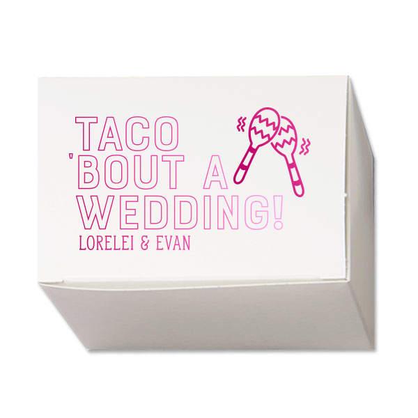 "Custom Cake Boxes / 50 Count / 4.5 x 3"" / Taco 'Bout A Wedding Maraca Favor Box"