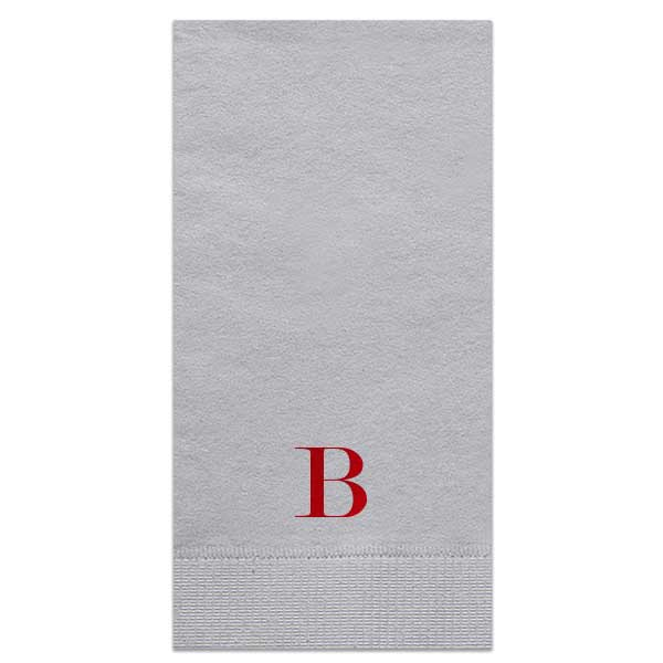 Gray guest hand towel with single monogram design in shiny lipstick red foil