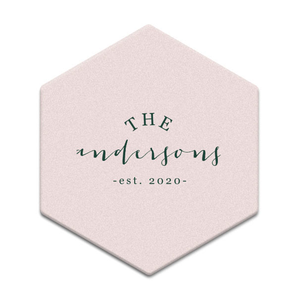 Family Name Established Year design on Blush Pink Hexagon Coaster with matte spruce foil
