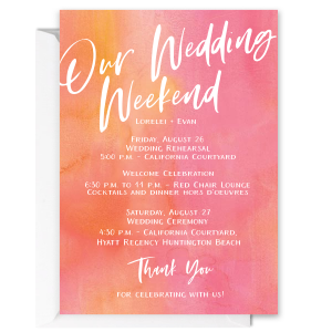 Our Wedding Weekend Trendy Event Invite