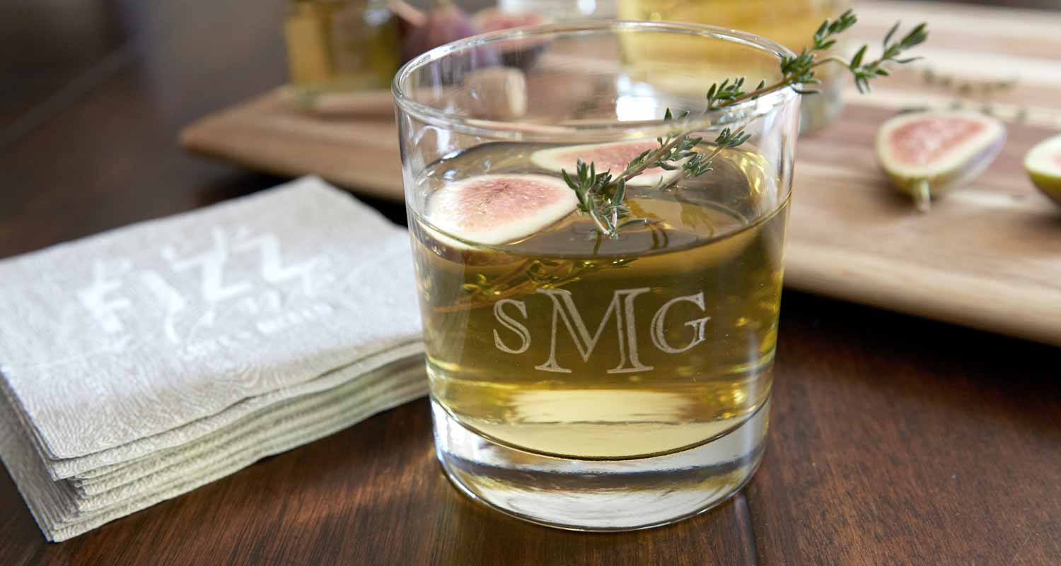 Glassware with etched monogram