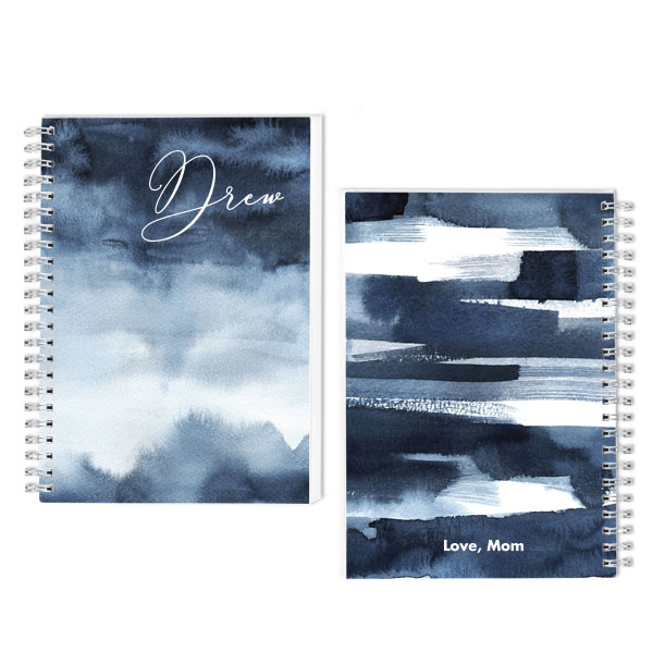 Blue Water Splash Spiral Journal with personalization