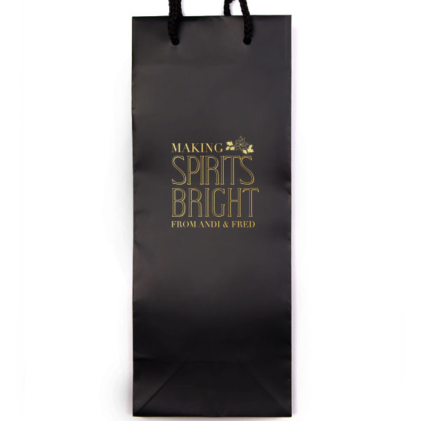 Classic Wine Gift Bag in Black with Satin Gold Foil - making spirits bright design